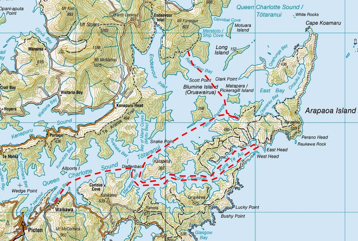 Map 1 Of 3-Day School Camp Maori Eco Cruises In Marlborough Sounds