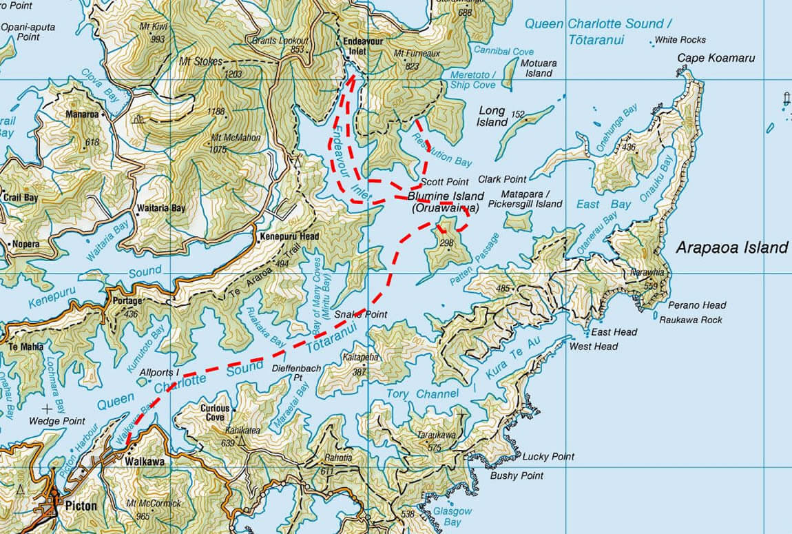 Map 3 Of 3-Day School Camp Maori Eco Cruises In Marlborough Sounds